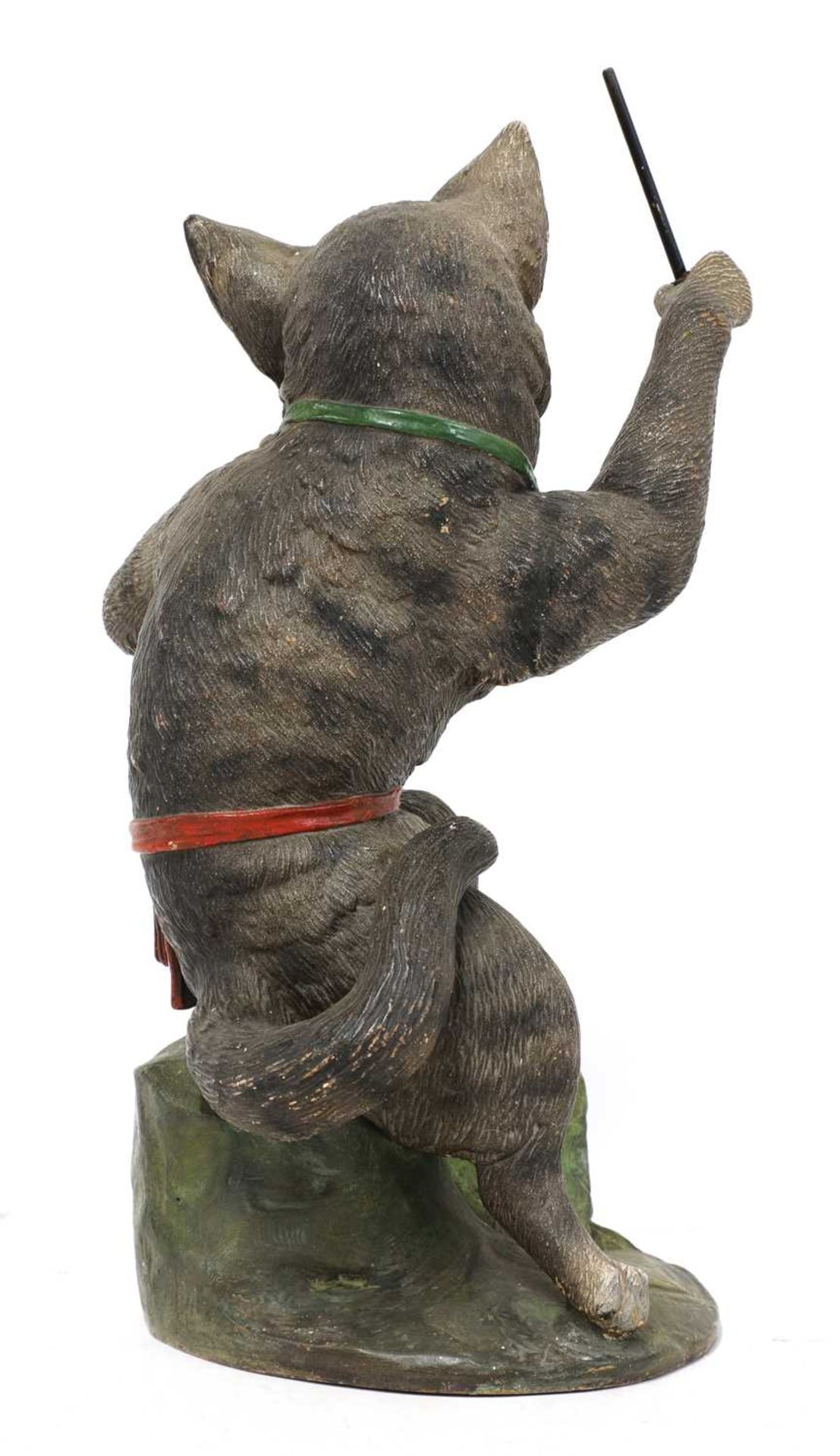 A French painted terracotta figure of a cat conductor, - Image 3 of 4