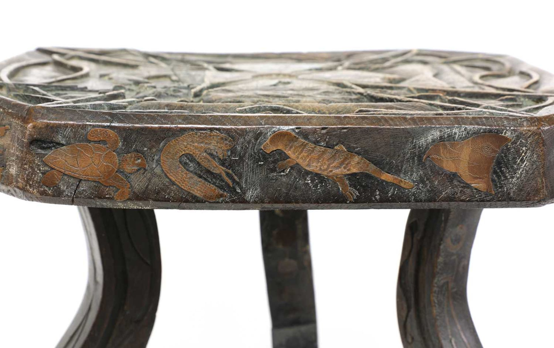 A carved and inlaid talismanic stool, - Image 3 of 6