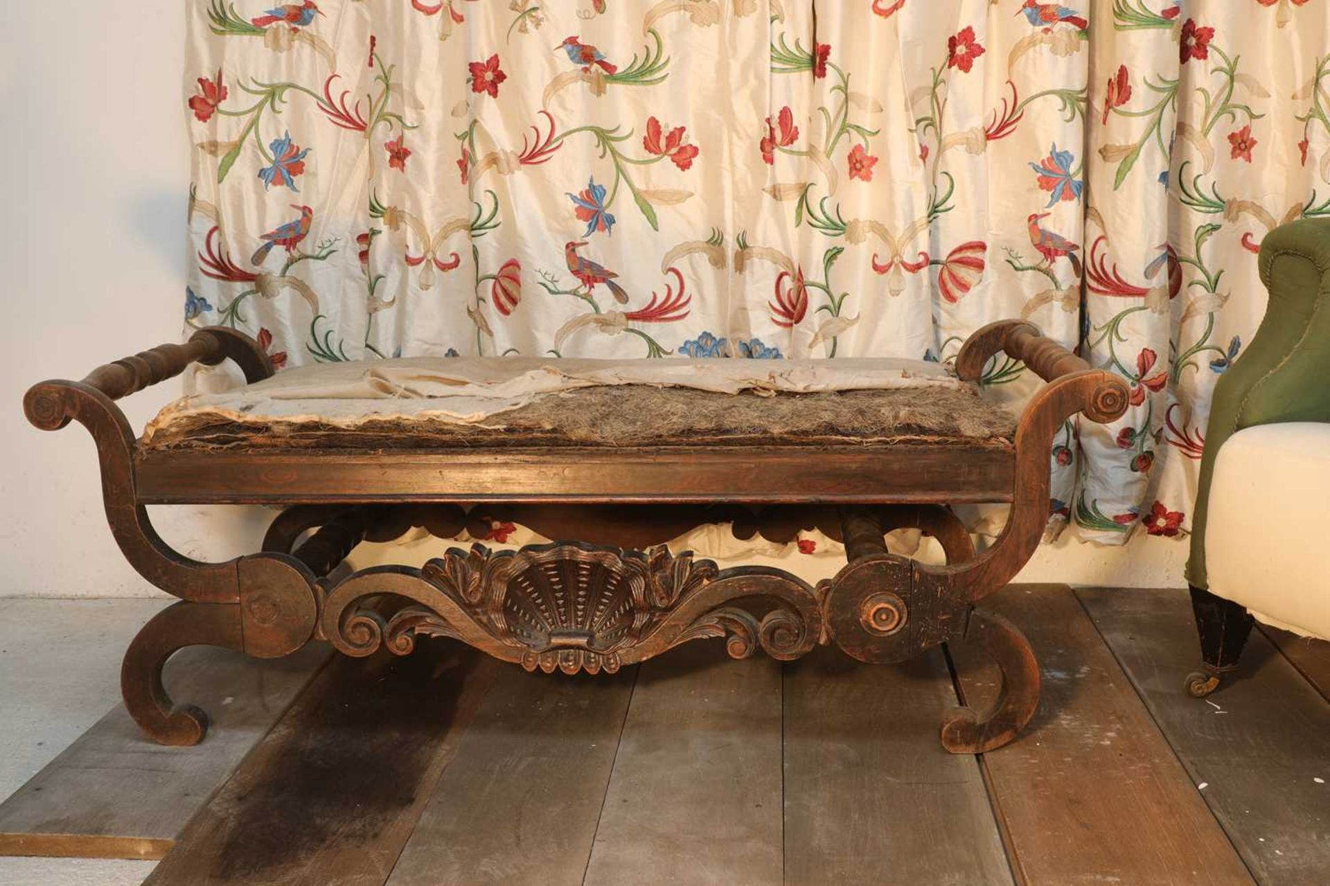 A Continental simulated rosewood window seat, - Image 9 of 10