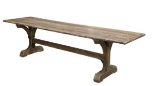 An elm and pine refectory table,