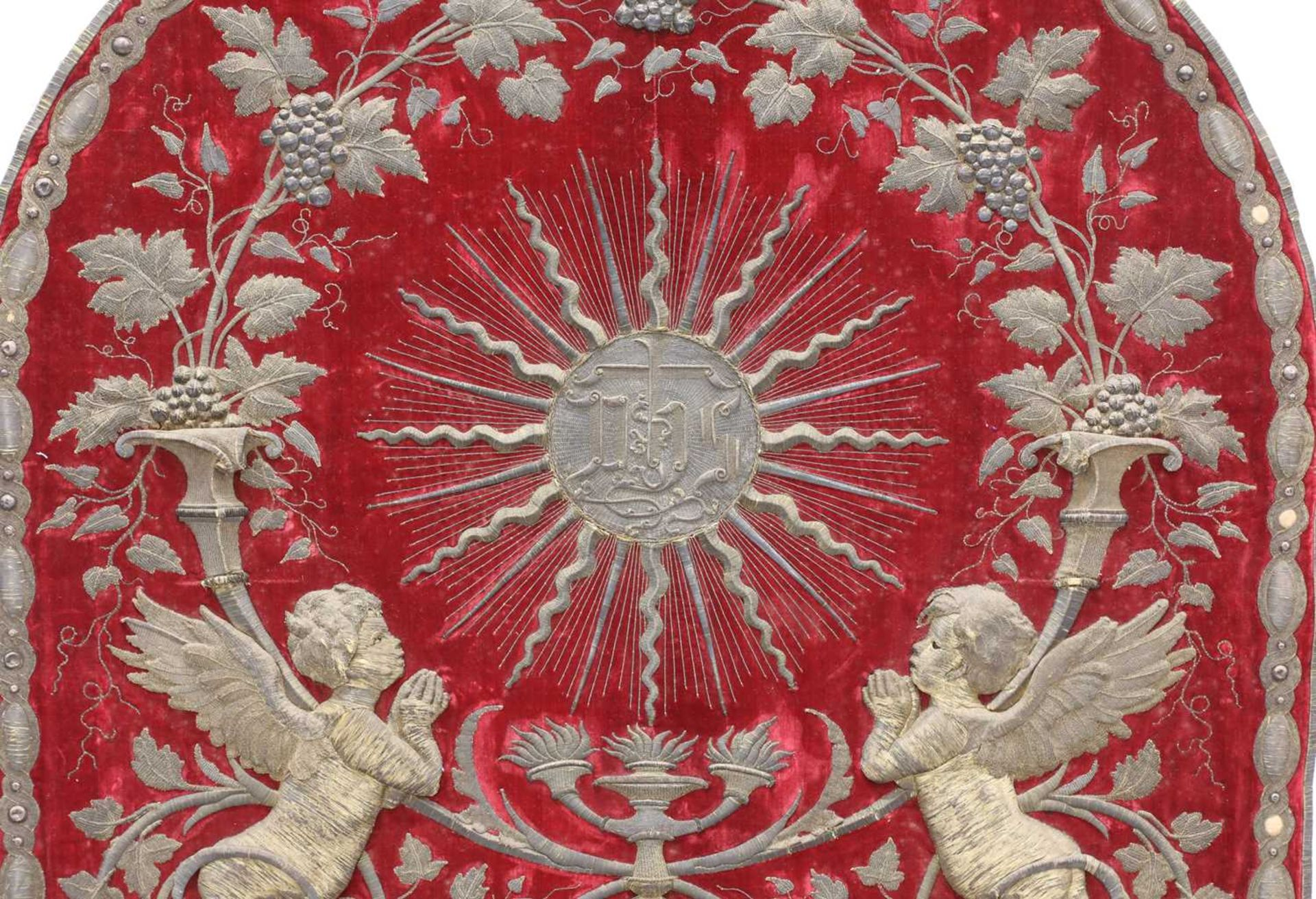 An Italian gilt and silvered metal and red velvet altar hanging, - Image 2 of 4