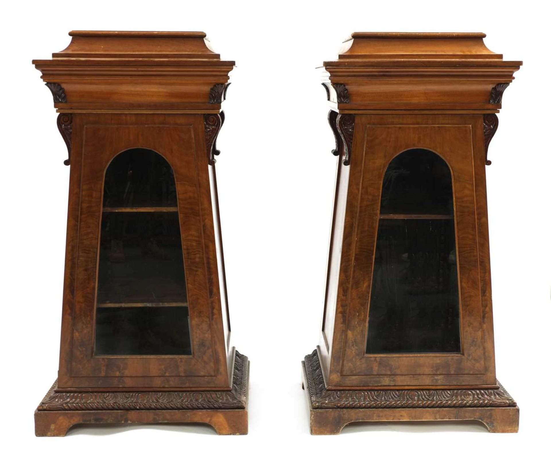 A pair of Victorian mahogany library bookcase pedestals,