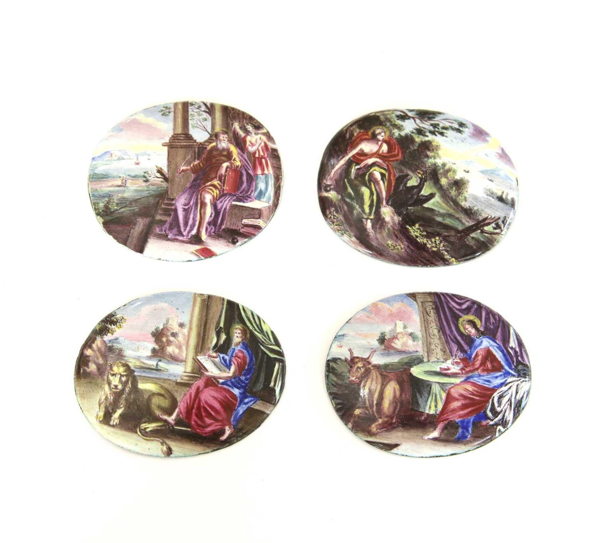 A set of four enamel plaques,