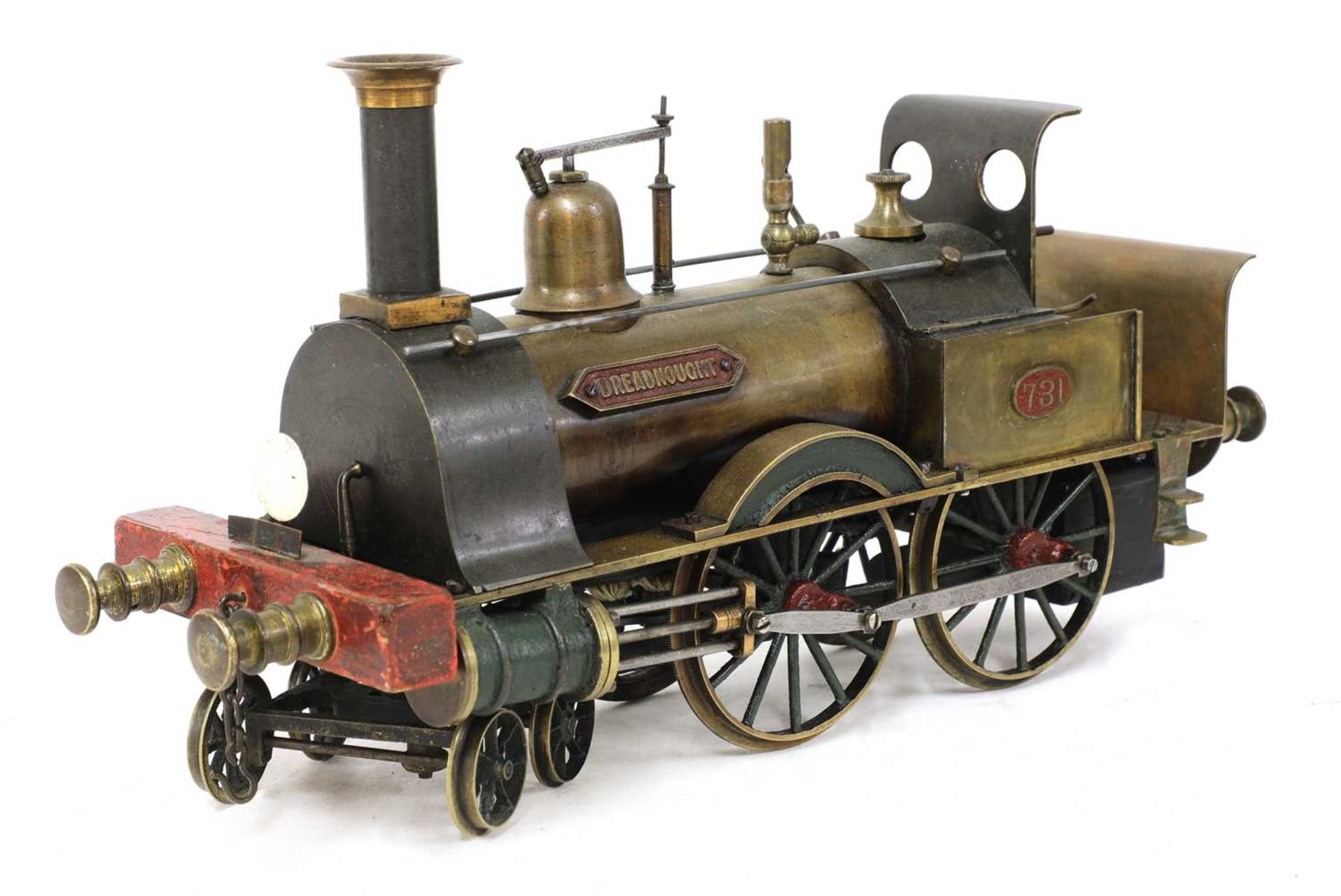 A 3in gauge spirit-fired live steam 4-4-0 Stevens Model Dockyard locomotive no 731, 'Dreadnought',