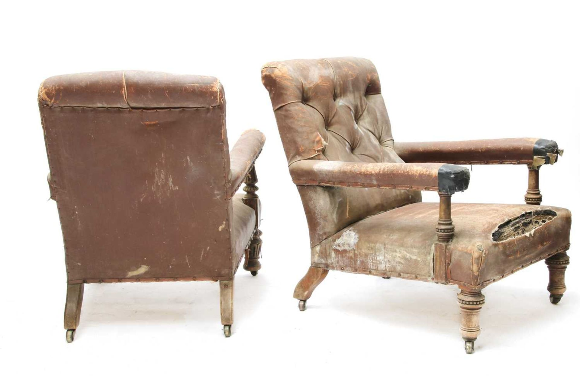 Two similar library armchairs by Gillow, - Image 3 of 7