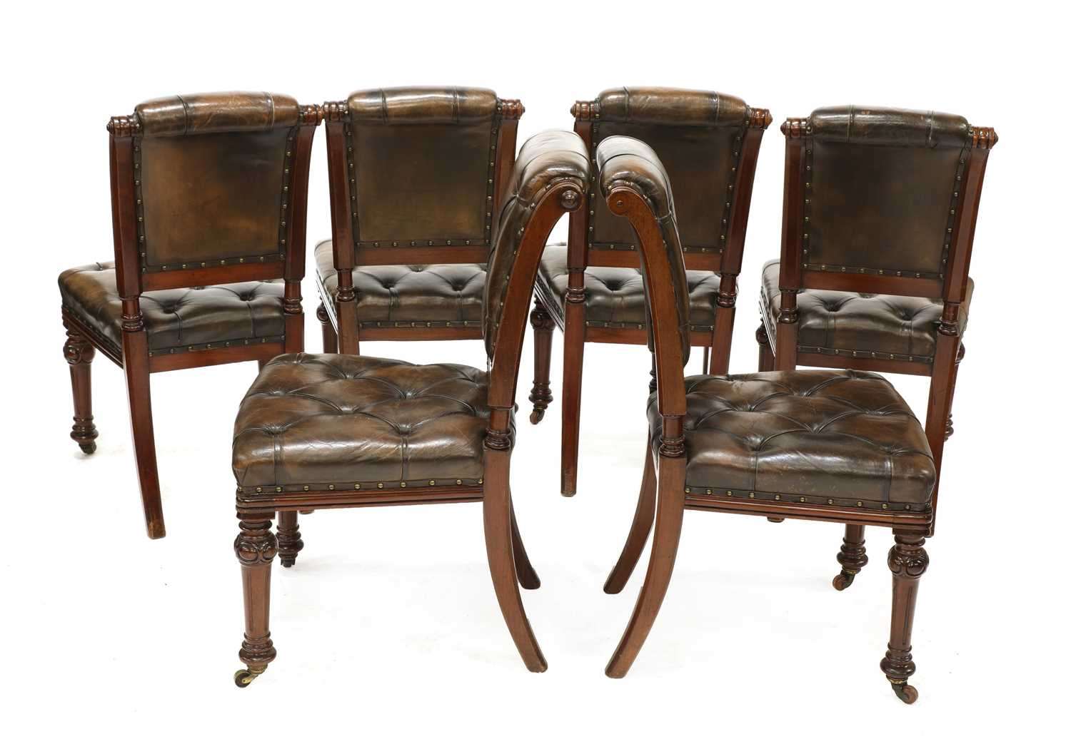 A set of six Victorian walnut and buttoned leather upholstered dining chairs, - Image 2 of 4