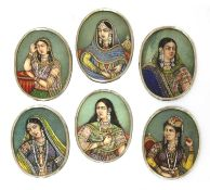 A set of six Indian gouache oval miniatures,