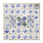 A panel of thirty-six delftware blue and white tiles,