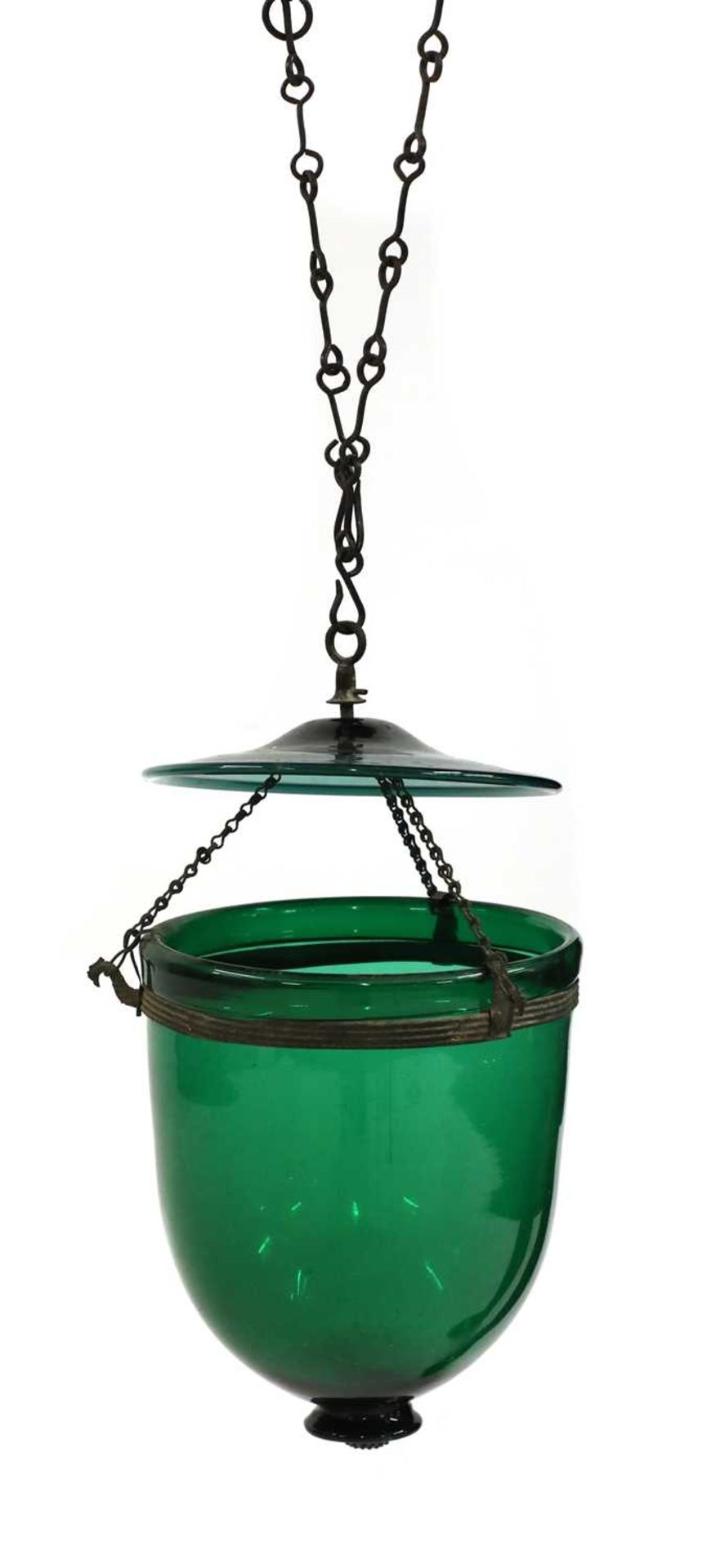 A George III-style green glass hanging lantern