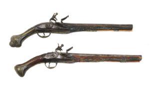 Two Turkish flintlock holster pistols,