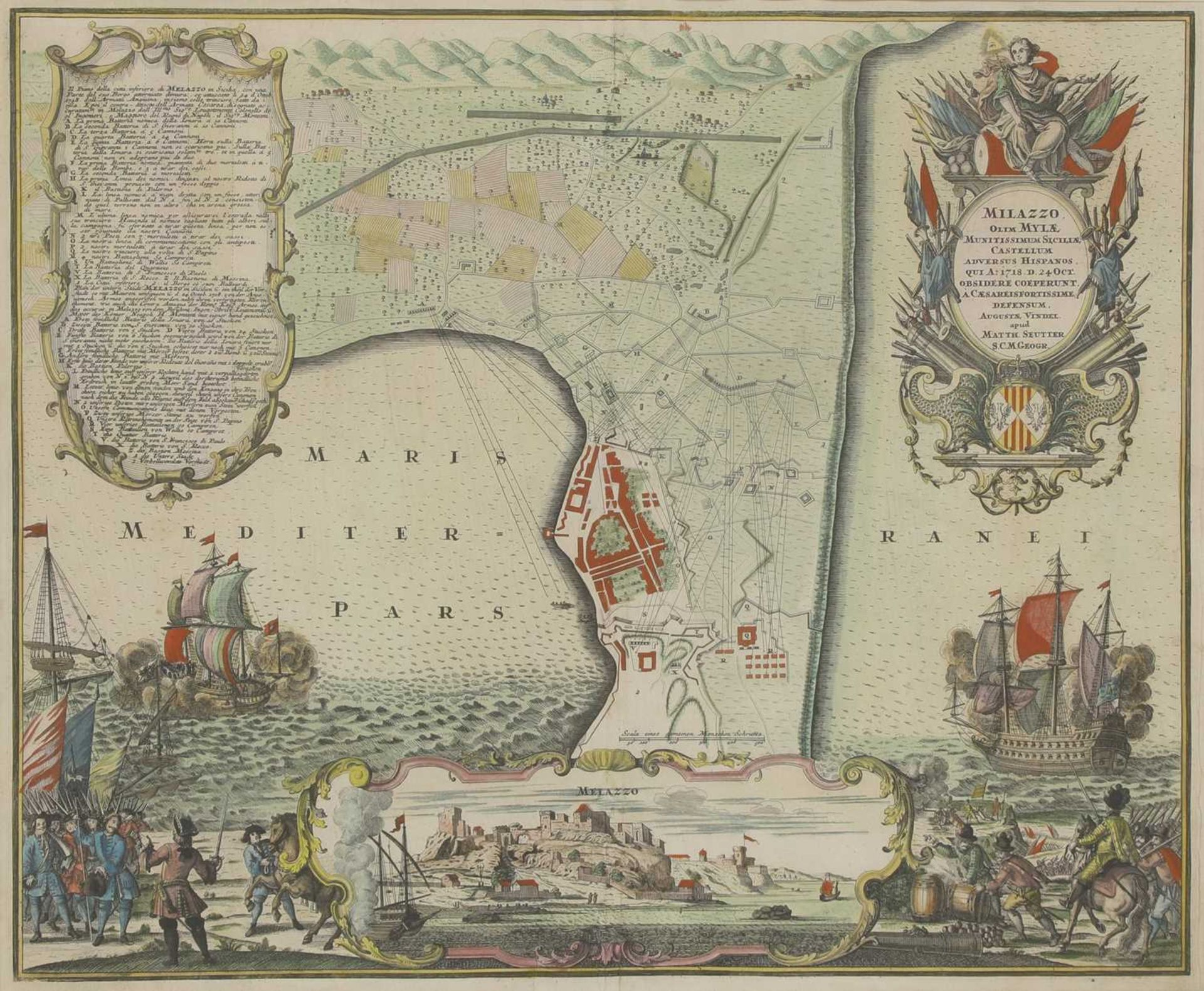 'Milazzo...Sicilia', a hand-coloured map dated 24 Oct, 1718,