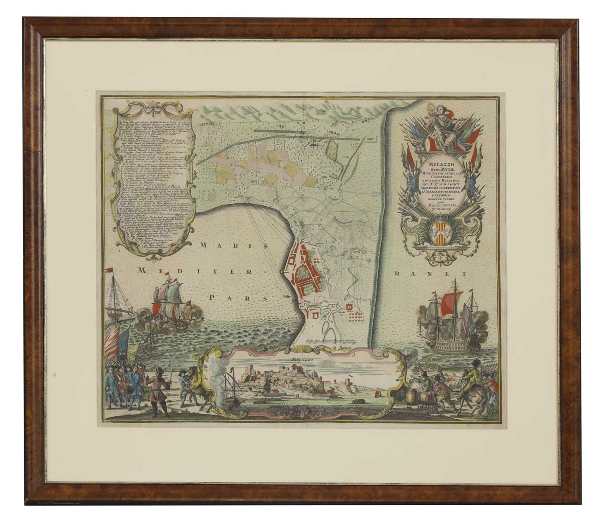 'Milazzo...Sicilia', a hand-coloured map dated 24 Oct, 1718, - Image 2 of 3