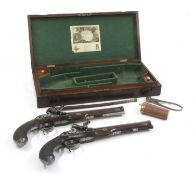 A cased pair of flintlock full stock duelling pistols by P Bond,
