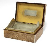 An Art Deco shagreen patent cigarette box