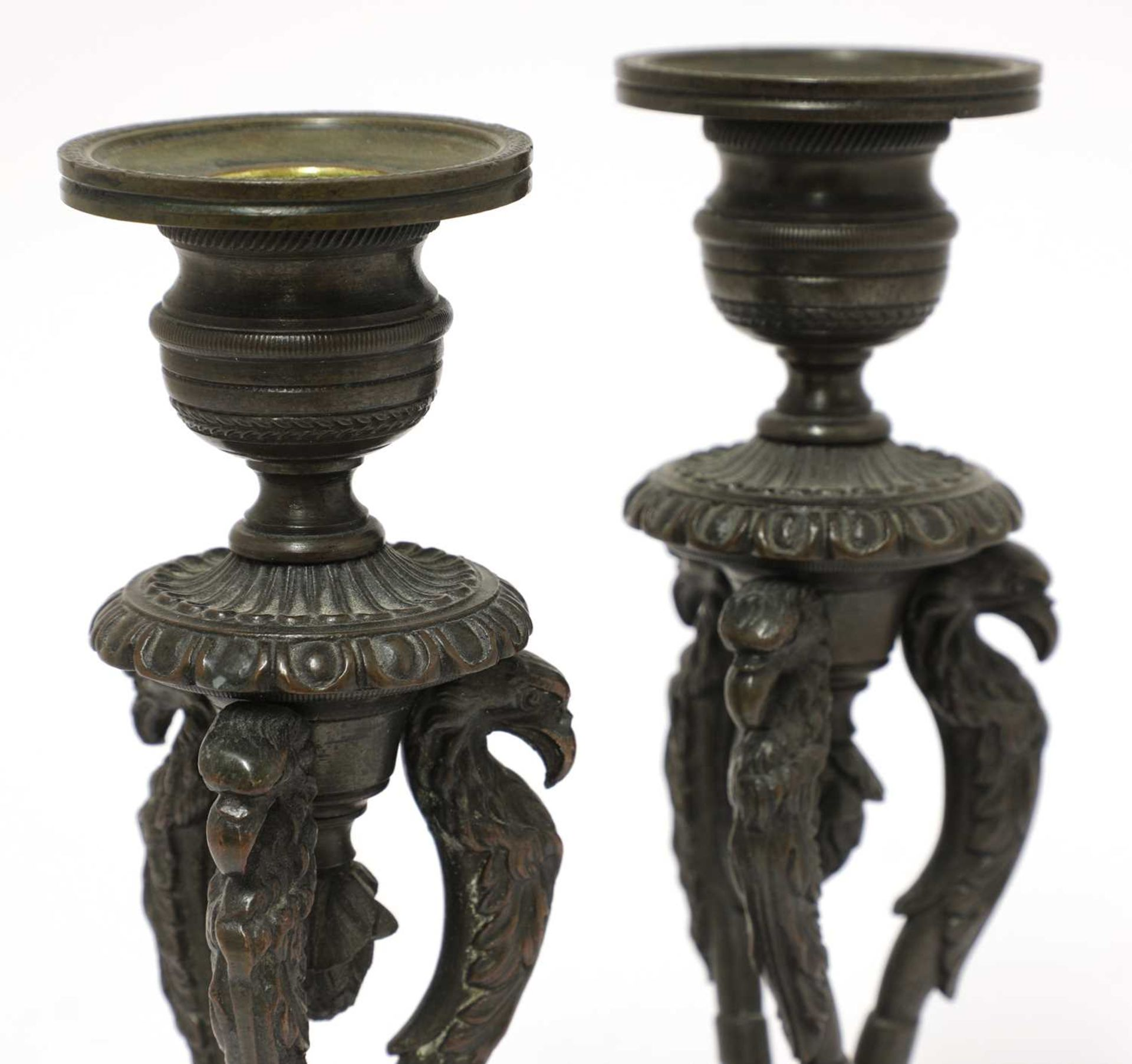 A pair of bronze candlesticks, - Image 3 of 3