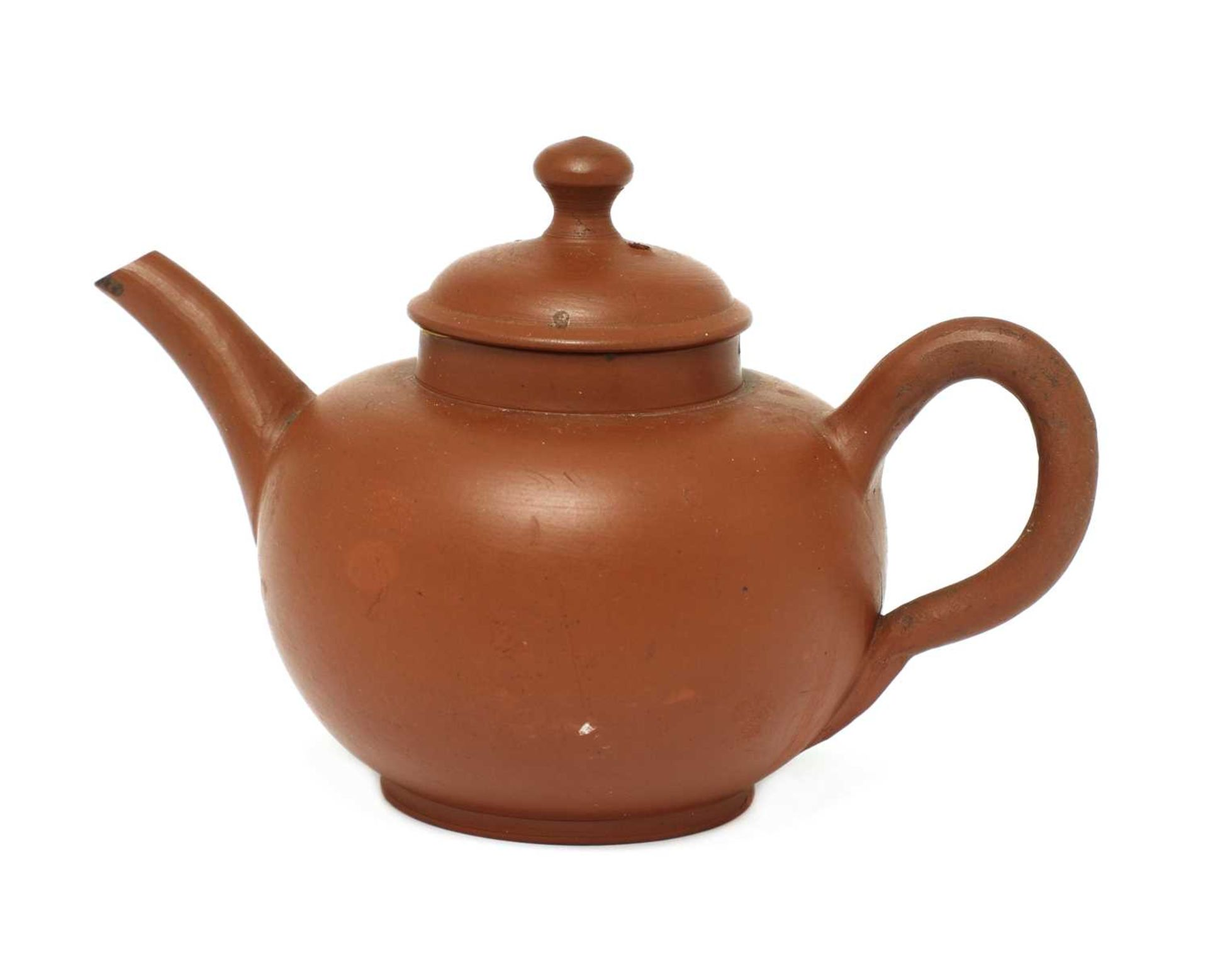 An unusual Staffordshire redware miniature globular teapot and cover,