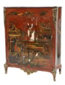 A French Louis XV and later red lacquer chinoiserie side cabinet,