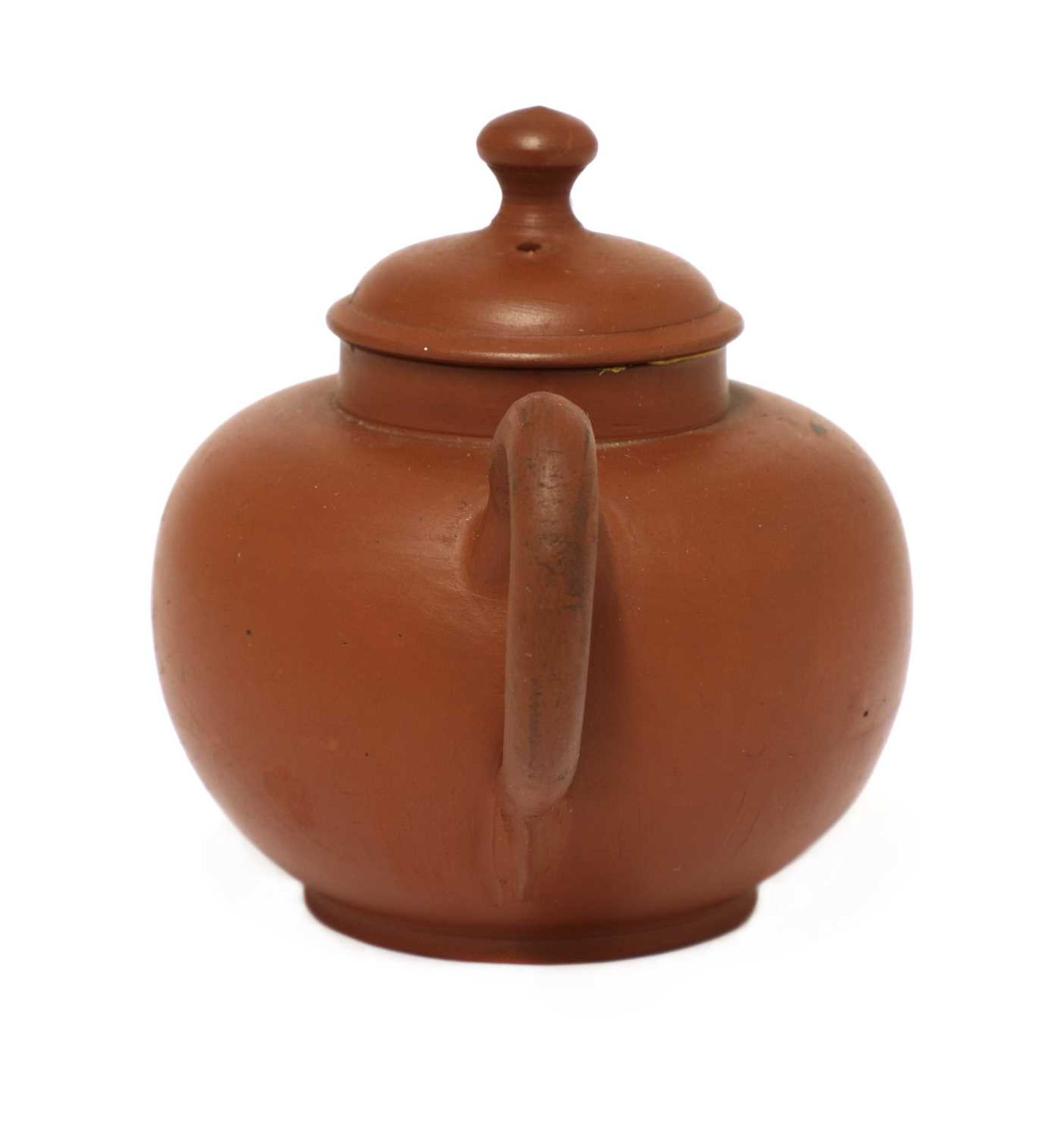 An unusual Staffordshire redware miniature globular teapot and cover, - Image 3 of 4