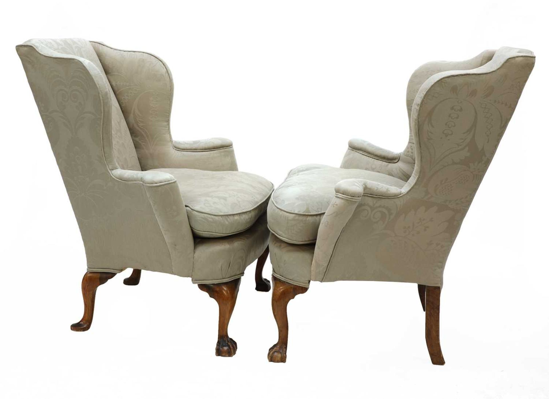 A closely matched pair of George III-style wing back armchairs, - Image 2 of 3