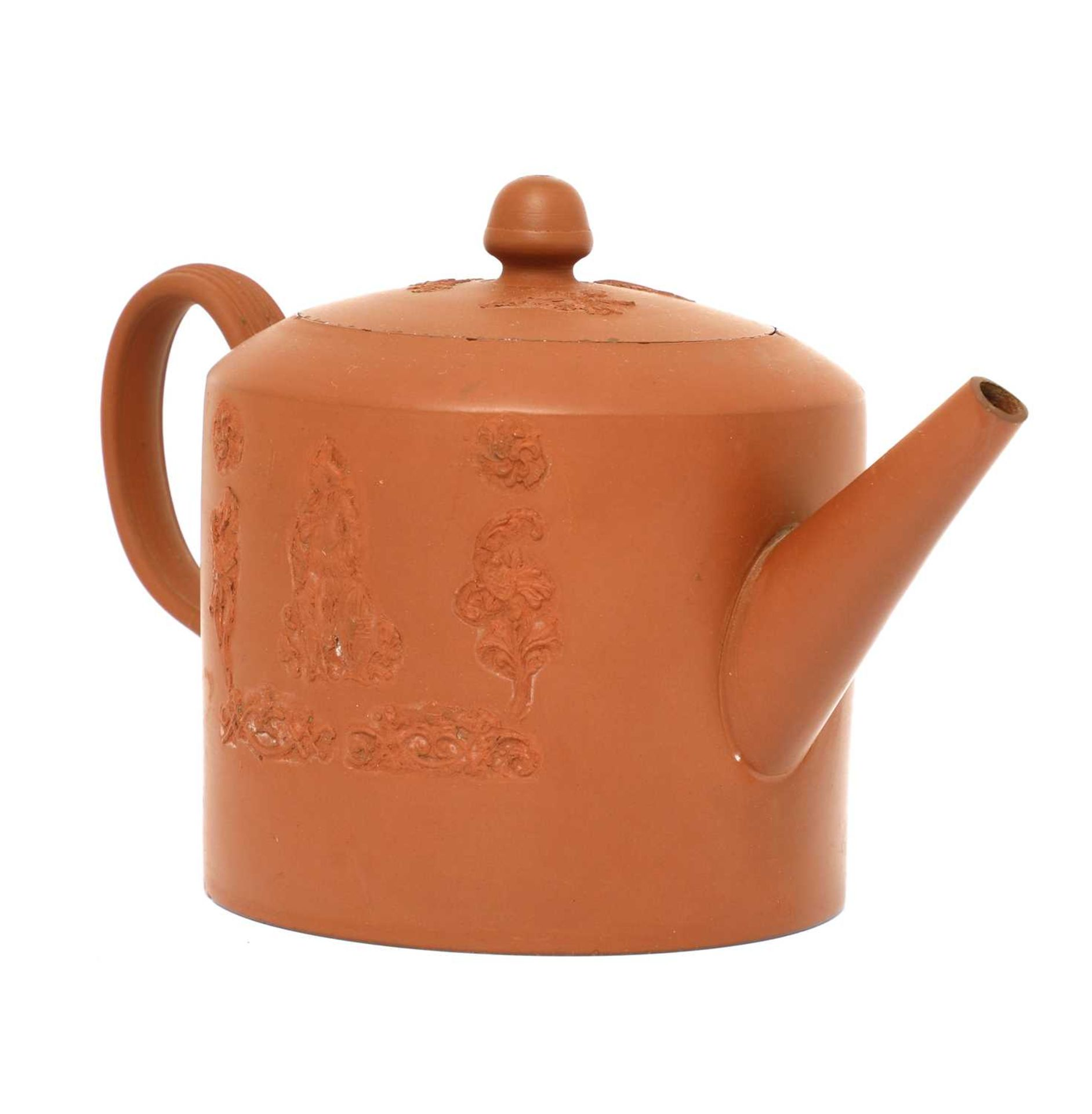 A Staffordshire redware cylindrical teapot and cover,