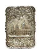 A Victorian silver castle-topped card case,