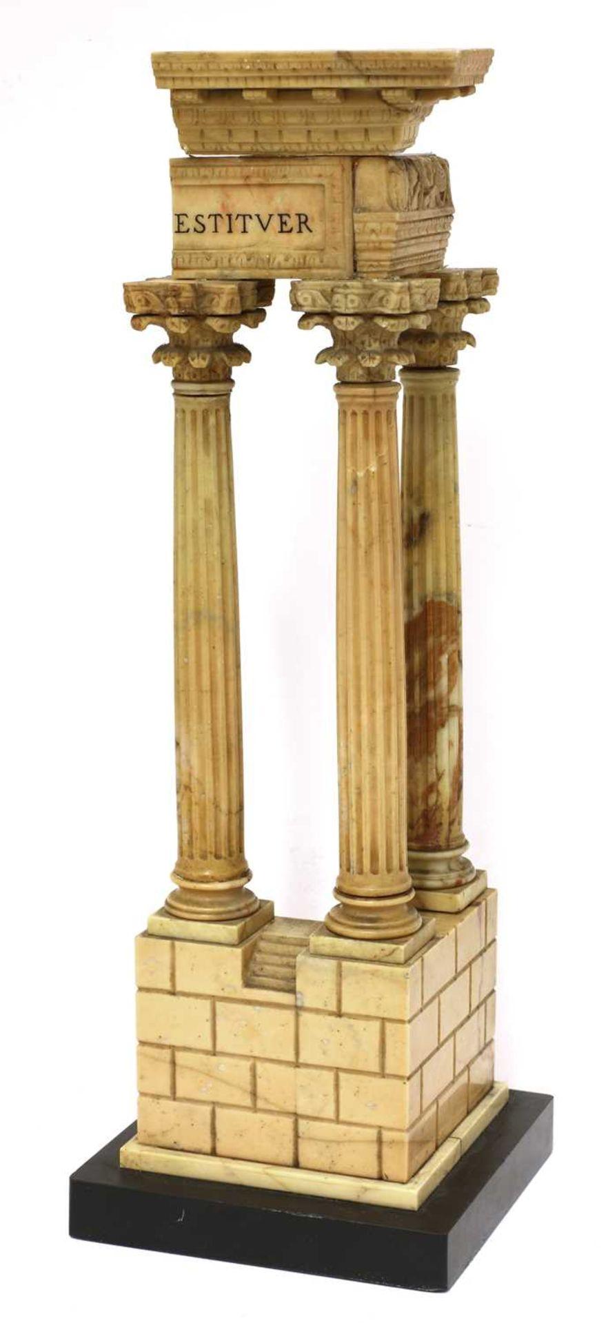 An Italian grand tour giallo antico marble souvenir,