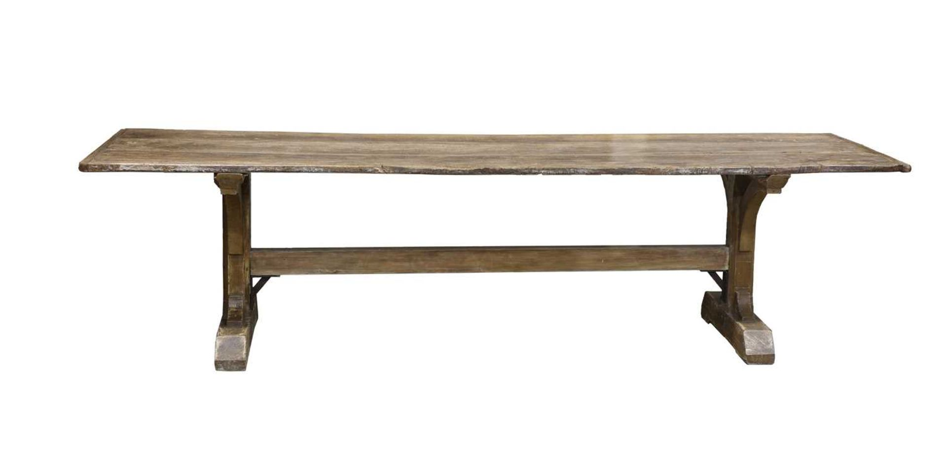 An elm and pine refectory table, - Image 2 of 3