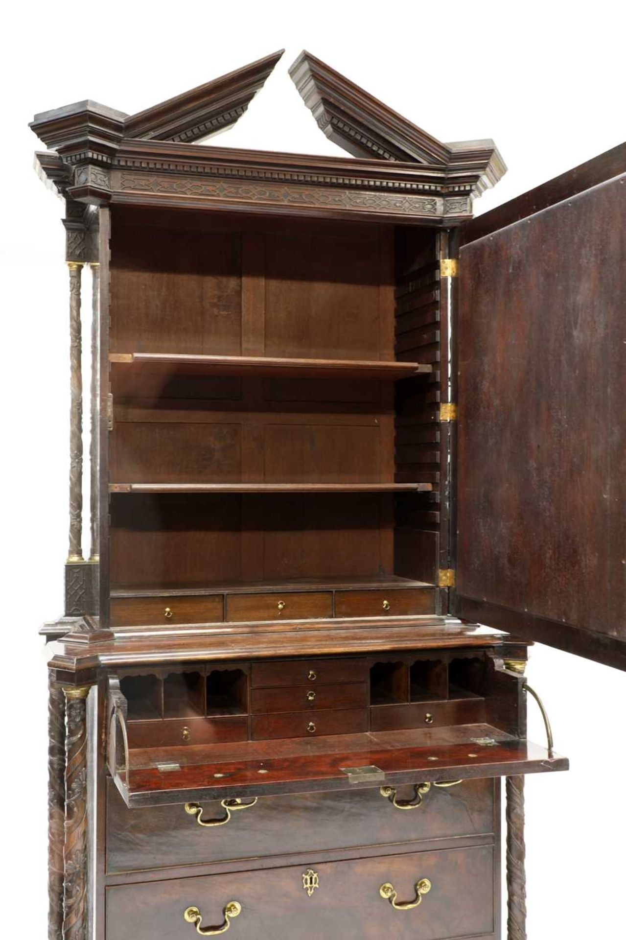 A Chippendale period mahogany secretaire bookcase, - Image 5 of 9