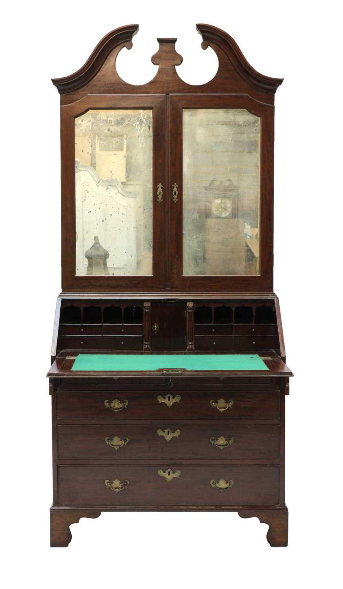 A George III mahogany bureau bookcase, - Image 3 of 6