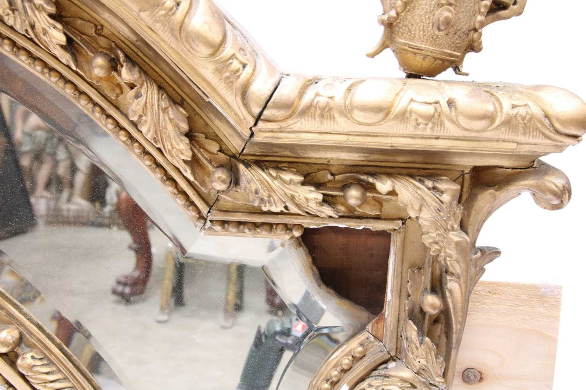 A French gilt gesso wall mirror, - Image 10 of 15