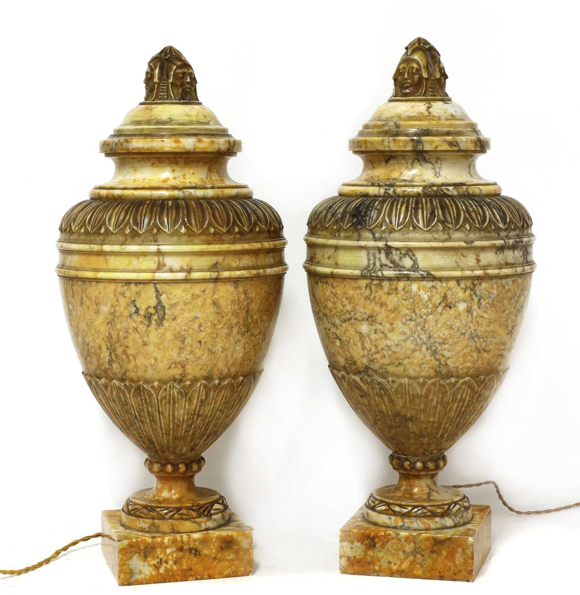 A pair of alabaster urns and covers - Image 4 of 6
