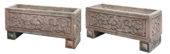 A pair of Indian sandstone garden troughs,