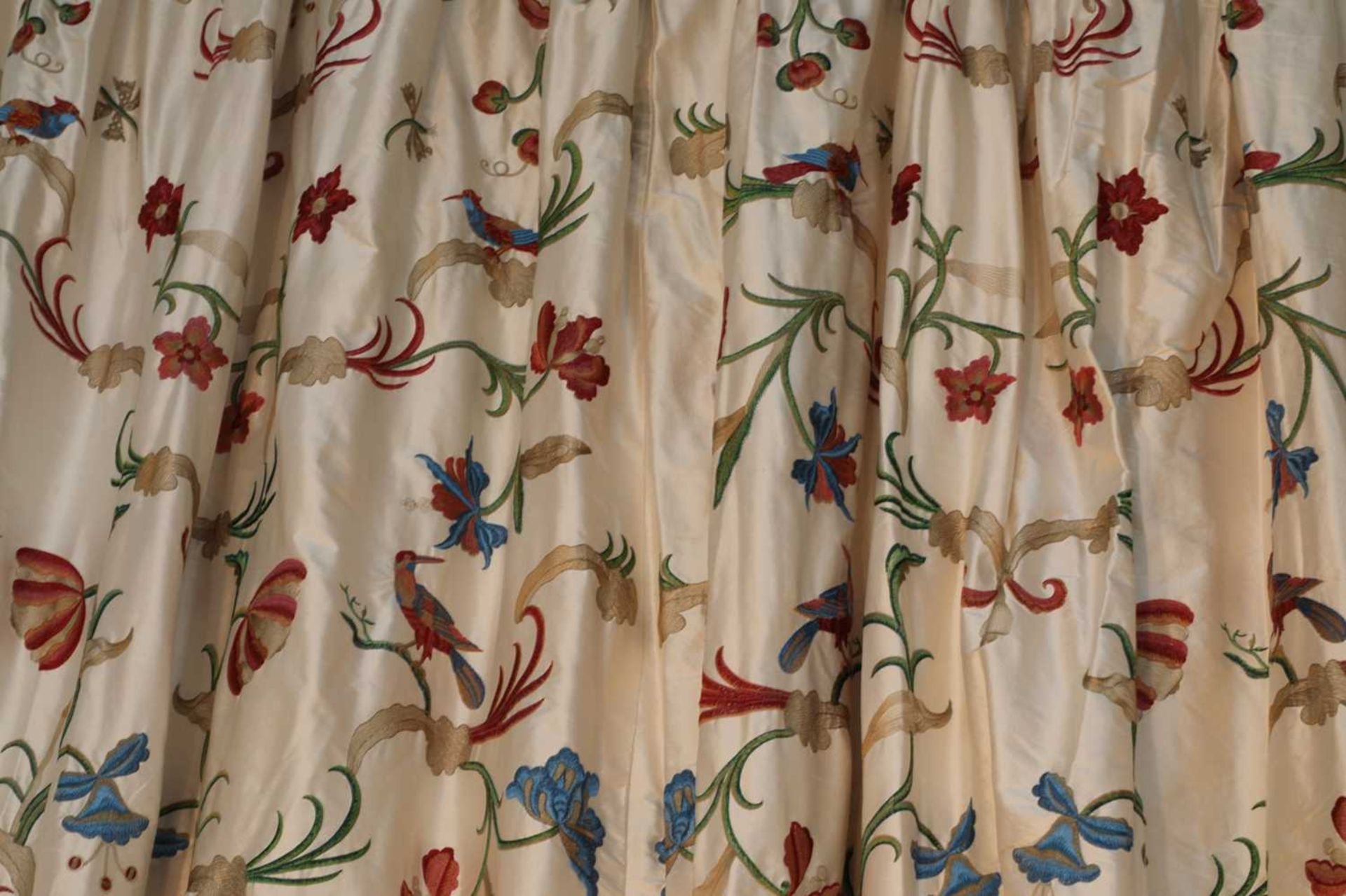 Three pairs of lined and interlined silk curtains, - Image 4 of 62