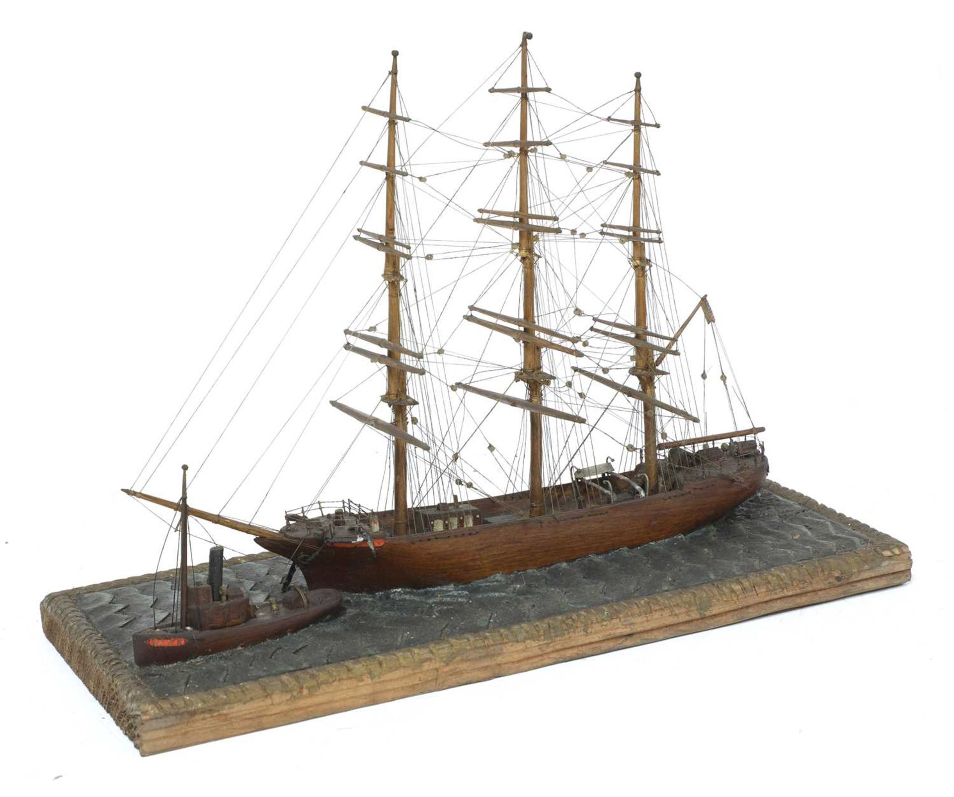 A North American scratch built, folk art, ship model, - Image 3 of 6