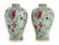 A pair of porcelain baluster vases,