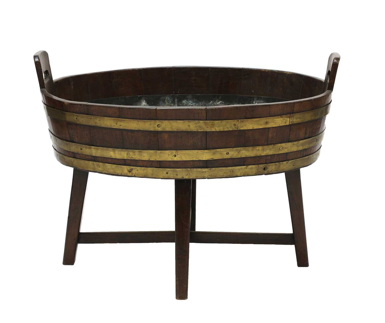 A George III mahogany oval brass-bound wine cooler, - Image 3 of 4
