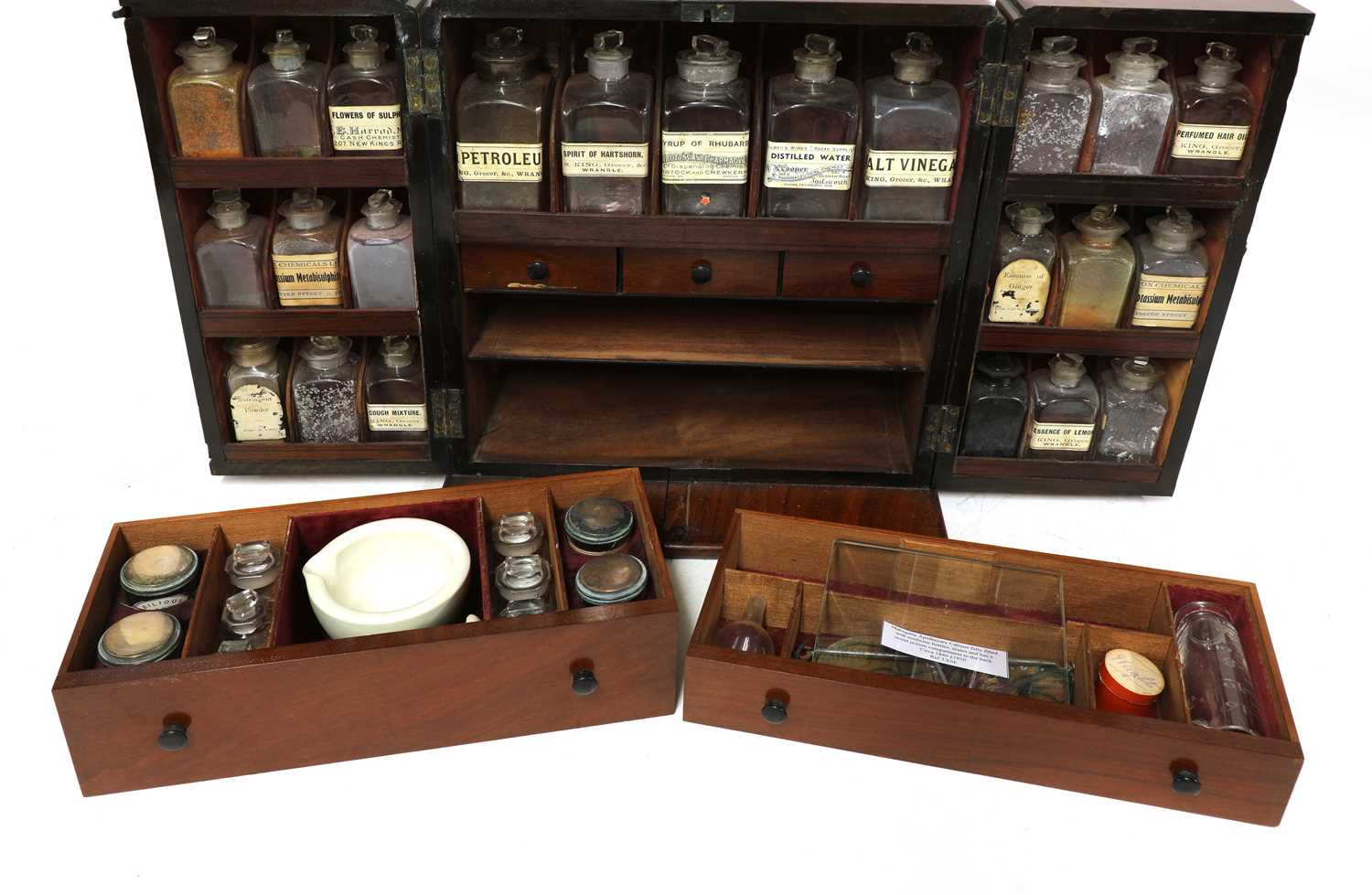 A mahogany cased travelling apothecary cabinet, - Image 2 of 5