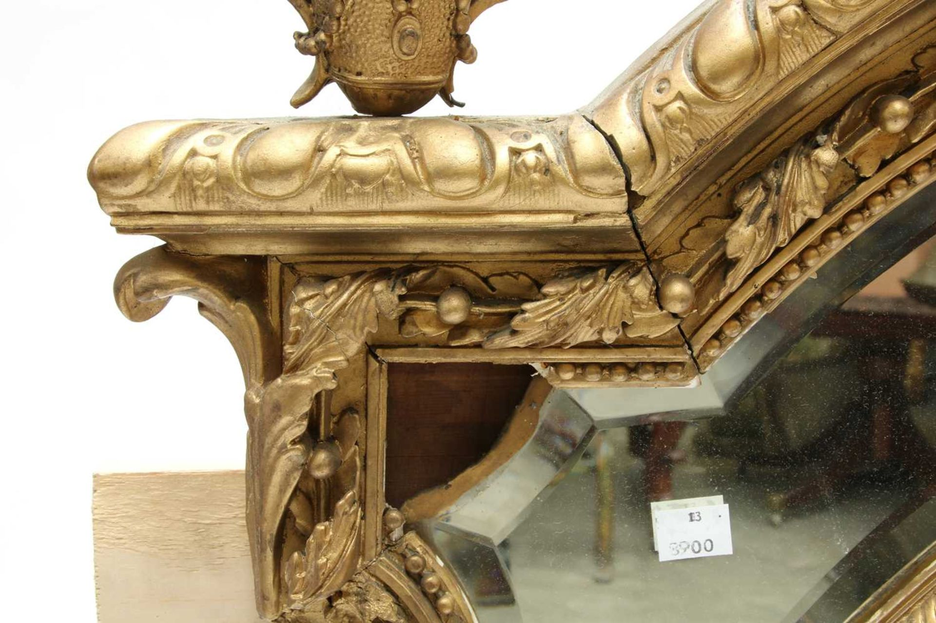 A French gilt gesso wall mirror, - Image 6 of 15