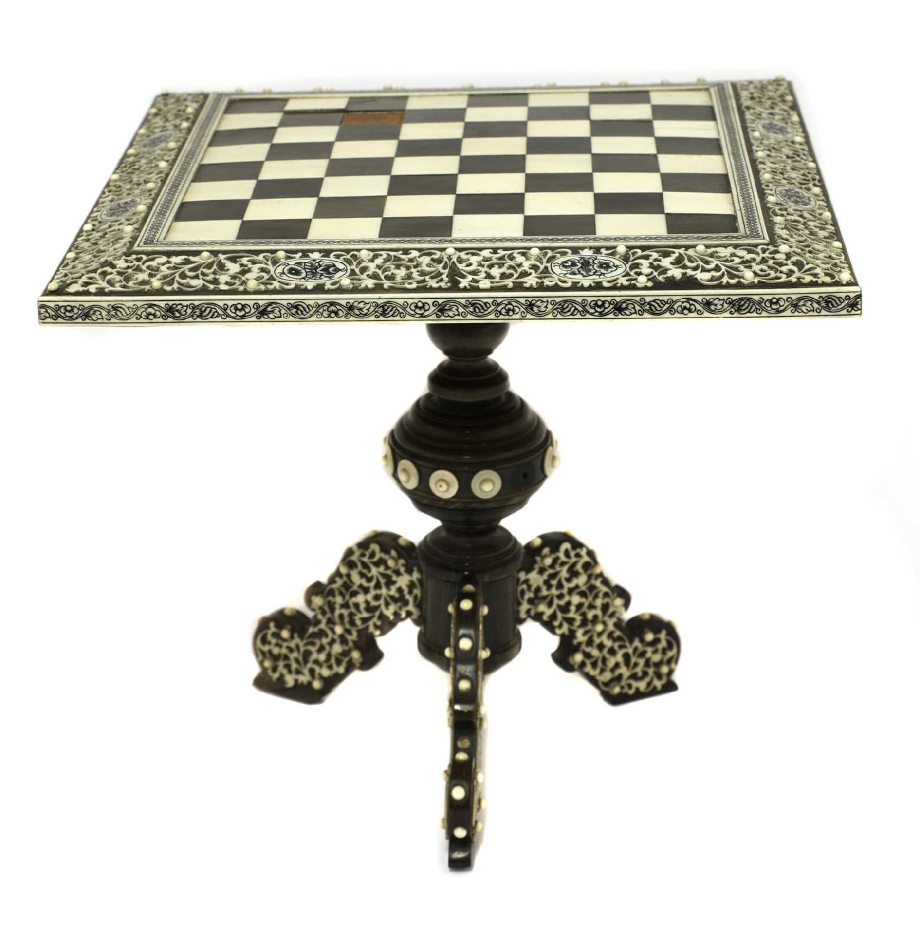 An Anglo-Indian ivory, horn and sandalwood miniature games table, - Image 2 of 4