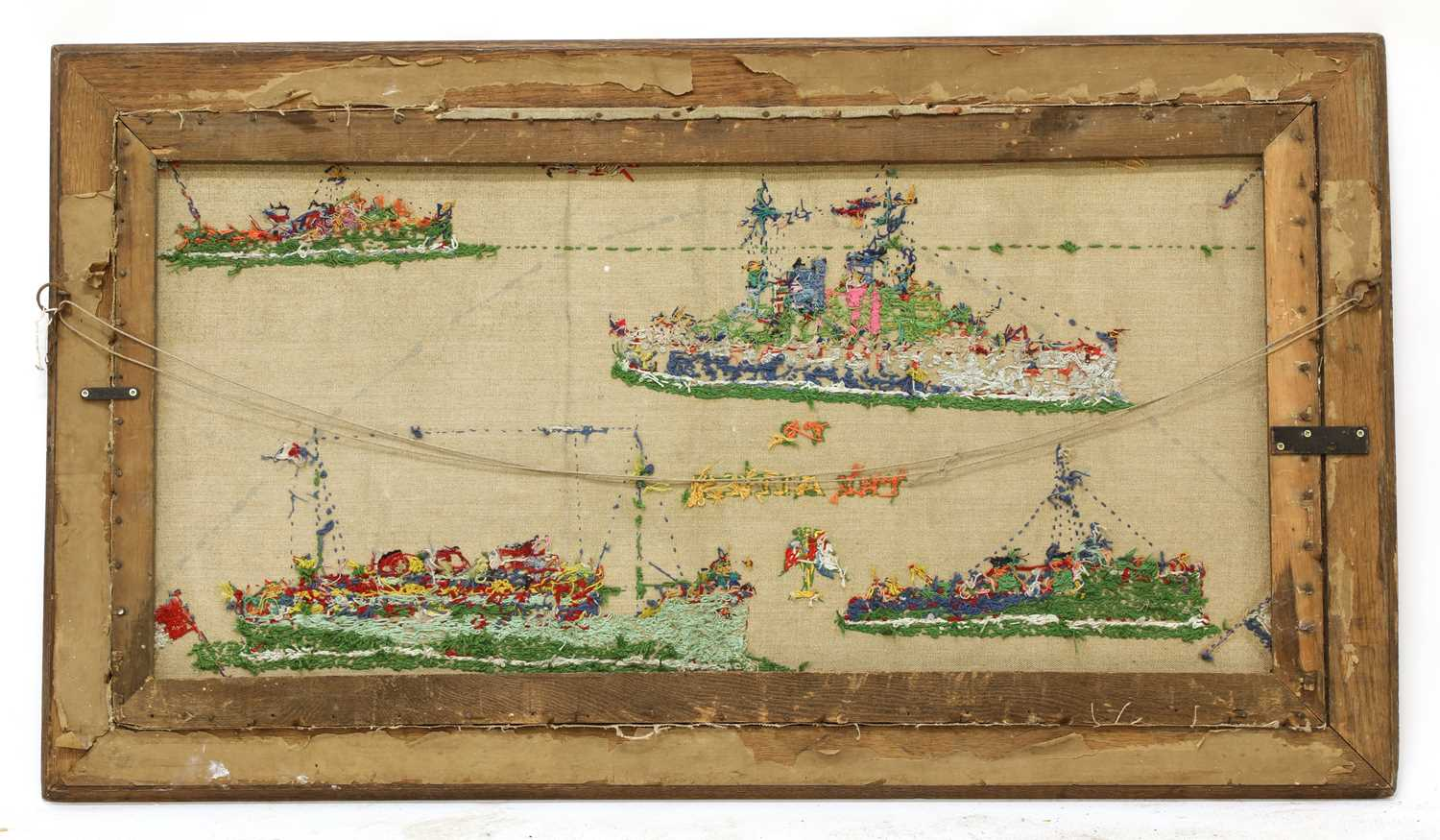 A pair of naval long stitch woolwork pictures, - Image 2 of 4