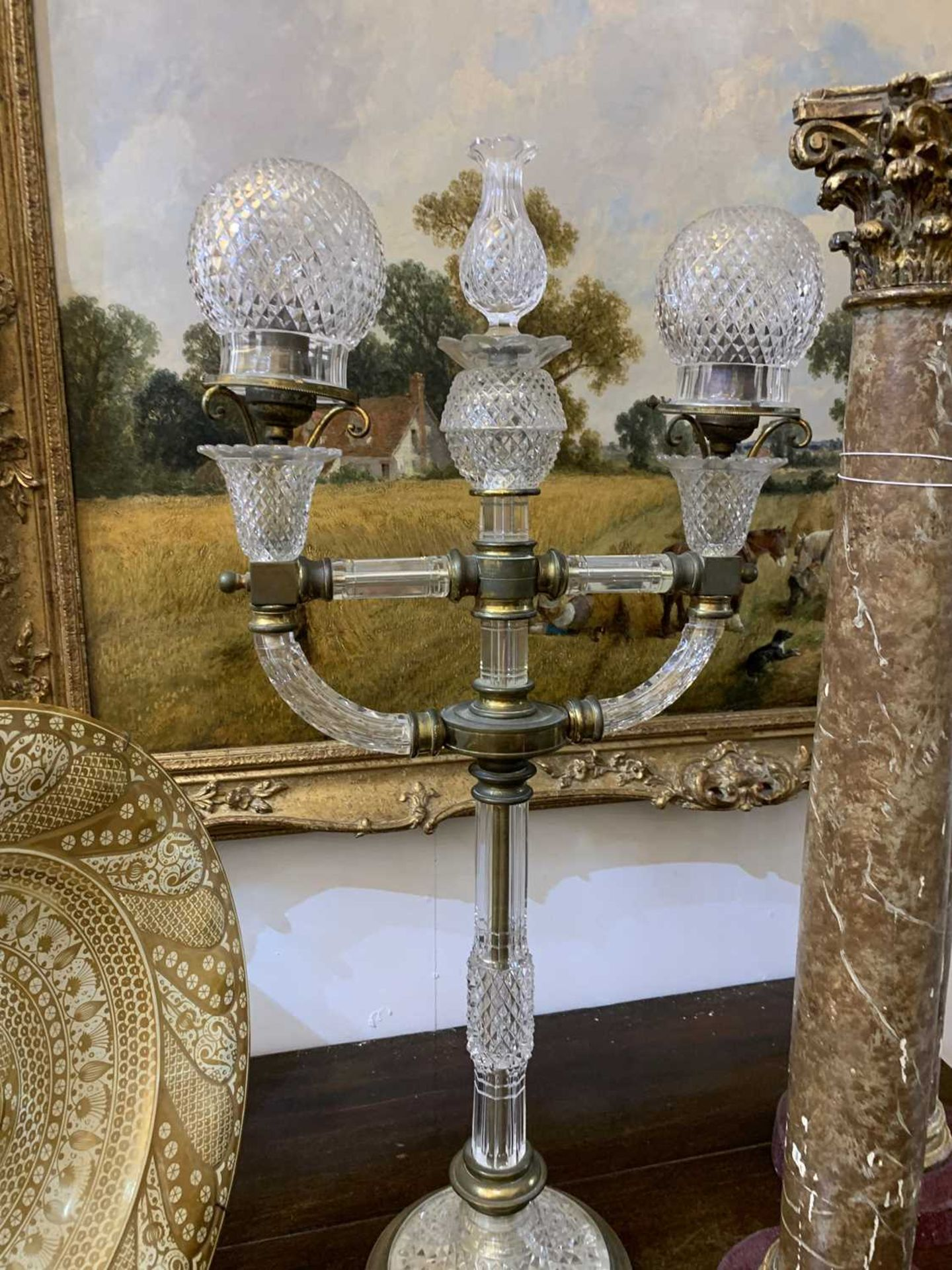 A pair of cut glass and gilt brass electric lamps, - Image 24 of 28
