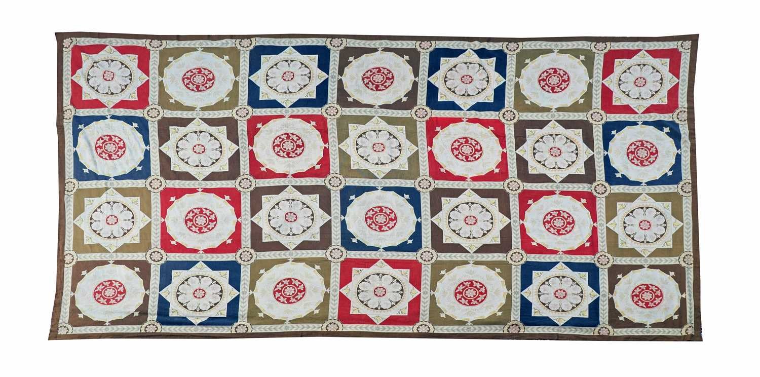 A handwoven needlepoint rug of 17th century Savonnerie design,