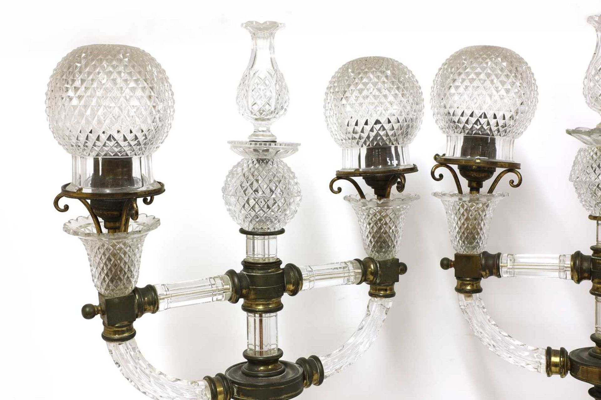 A pair of cut glass and gilt brass electric lamps, - Image 3 of 28