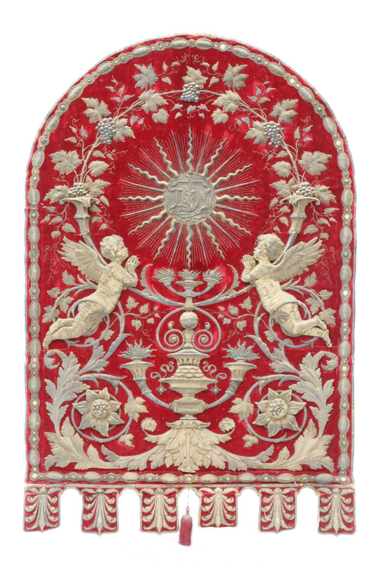 An Italian gilt and silvered metal and red velvet altar hanging, - Image 4 of 4
