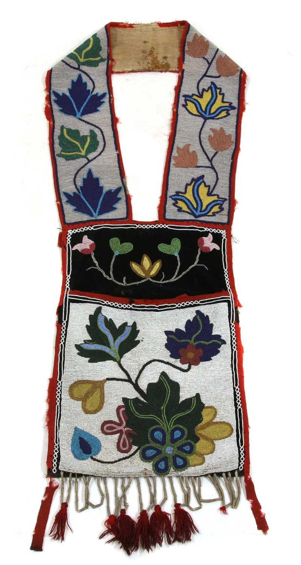 A Native American Great Lakes beadwork bandolier or bag,
