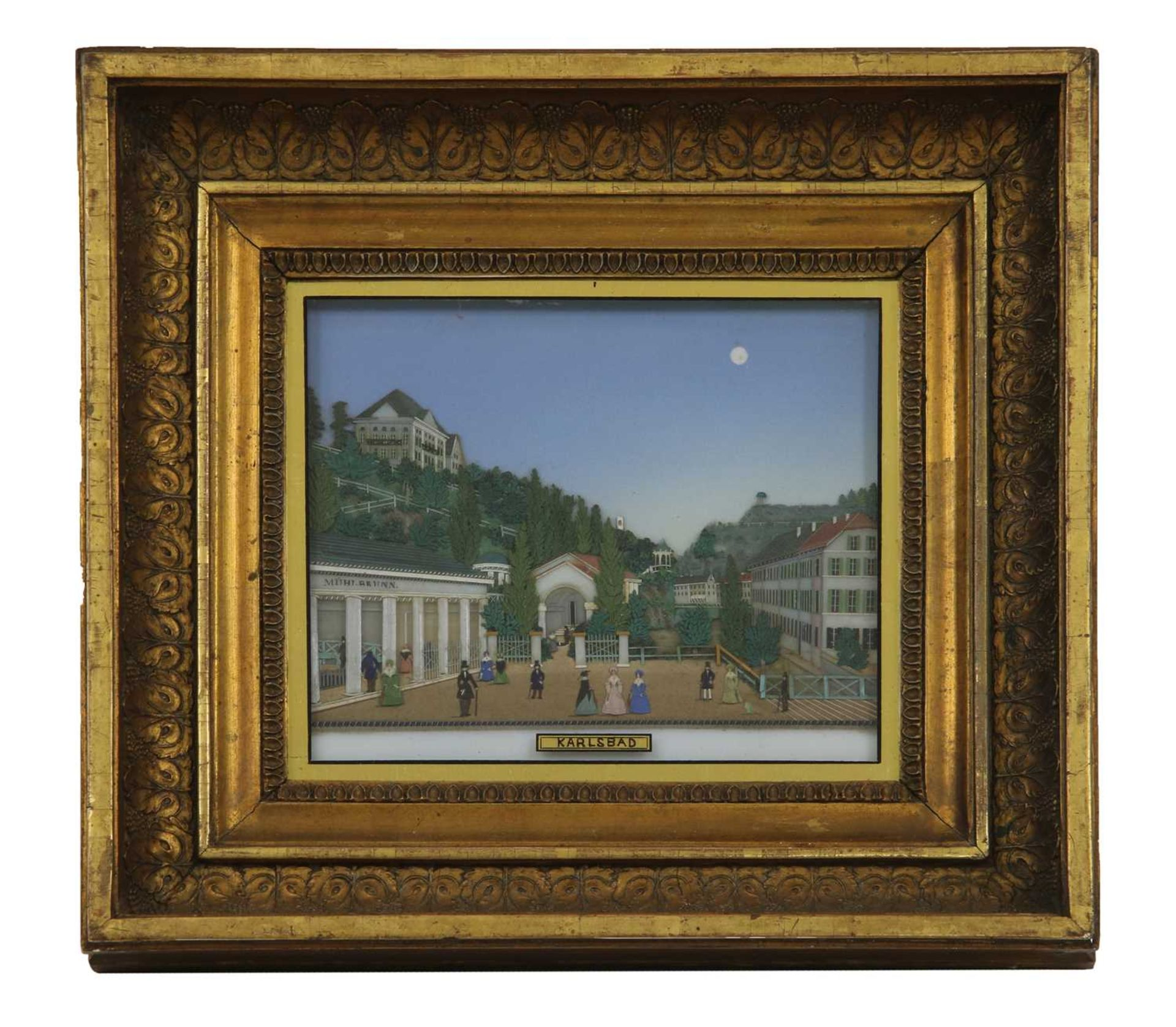 An unusual coloured glass collage titled 'Karlsbad',