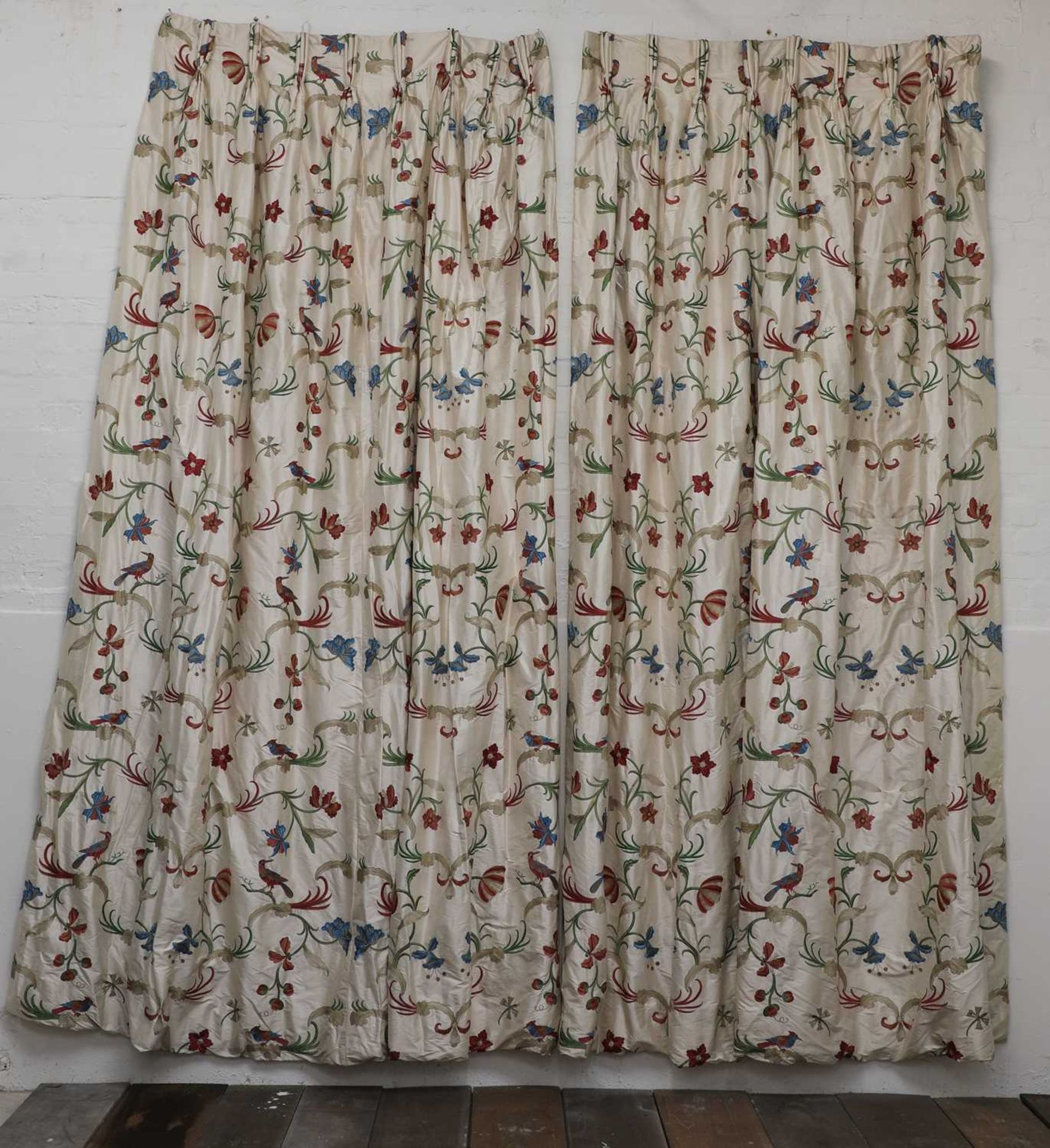 Three pairs of lined and interlined silk curtains, - Image 5 of 62
