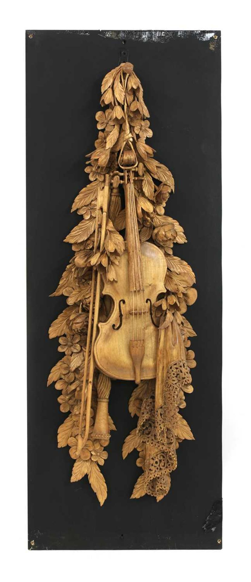 A carved wall hanging in the style of Grinling Gibbons, - Image 2 of 4