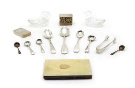 A collection of silver flatware,