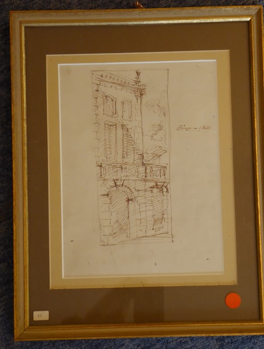 Lot 406 - A double framed and glazed pair of ink sketches, the obverse of a pair of stone arches with